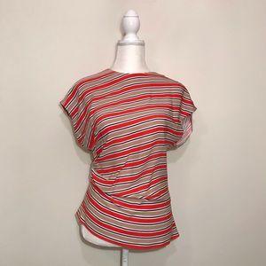Zara Woman Asymmetrical Blouse Top Stripes Small